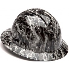 Pyramex Ridgeline Gray Wicked Flames Hard Hat - Full Brim - 4Pt Ratchet Suspension - (CLOSEOUT - LIMITED STOCK AVAILABLE)