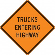 "36"" x 36"" Mesh Vinyl Roll-Up Construction Sign: Trucks Entering Highway"