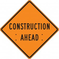 "36"" x 36"" Mesh Vinyl Roll-Up Construction Sign: Construction Ahead"