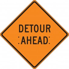 "36"" x 36"" Mesh Vinyl Roll-Up Construction Sign: Detour Ahead"