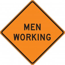 "36"" x 36"" Mesh Vinyl Roll-Up Construction Sign: Men Working"