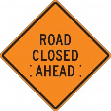 "36"" x 36"" Mesh Vinyl Roll-Up Construction Sign: Road Closed Ahead"