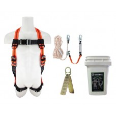 SafeWaze FS-ROOF-E Roofer's Fall Protection Compliance Kit in a Bucket