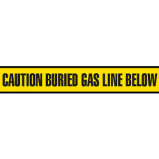 "Incom 6"" x 1000' Utility Grade Barricade Tape - Caution Buried Gas Line Below - 6 Rolls/ Case"