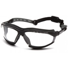 Pyramex GB9410STM Isotope Safety Glasses/Goggles Black Frame w/ Rubber Gasket - Clear H2MAX Anti-Fog Lens