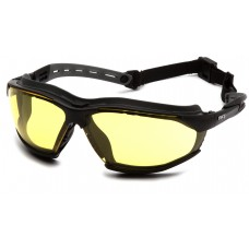 Pyramex GB9430STM Isotope Safety Glasses/Goggles Black Frame w/ Rubber Gasket - Amber H2MAX Anti-Fog Lens