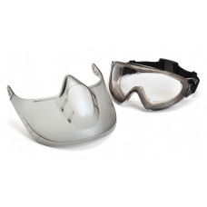 Pyramex Capstone Goggle Gray Frame Clear Lens Anti-Fog with Faceshield Attachment