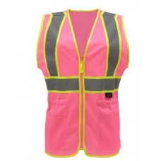 GSS 7806 Pink with Hi Vis Yellow Trim Ladies Safety Vest - Non-ANSI
