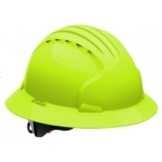 JSP Evolution Deluxe 6161 Full Brim Hard Hat, Non-Vented, Hi Vis Lime (CLEARANCE)