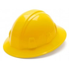 Pyramex SL Series Full Brim Hard Hat, 6Pt Ratchet Suspension, Yellow, HP26130
