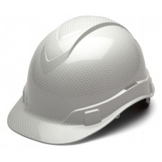 Pyramex Ridgeline Shiny White Graphite Pattern Hard Hat - Cap Style - 4 Pt Ratchet Suspension - HP44116S