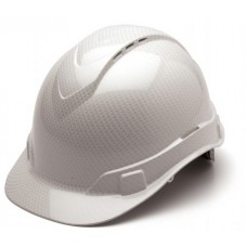 Pyramex Ridgeline Shiny White Graphite Pattern Vented Hard Hat - Cap Style - 4 Pt Ratchet Suspension - HP44116SV