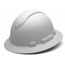 Pyramex Ridgeline White Graphite Pattern Hard Hat Full Brim 4Pt Ratchet Suspension, HP54116
