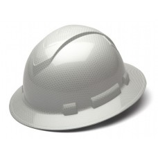 Pyramex Ridgeline HP54116S Shiny White Graphite Pattern Hard Hat - Full Brim - 4-Point Standard Ratchet