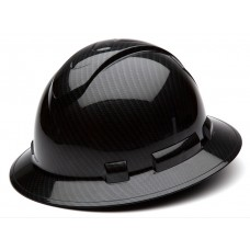 Pyramex Ridgeline Gloss Black Graphite Pattern Hard Hat Full Brim 4Pt Ratchet Suspension, HP54117S