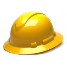 Pyramex Ridgeline Full Brim Hard Hat, 4Pt Ratchet Suspension, Yellow, HP54130
