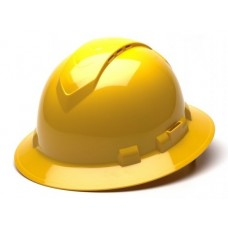 Pyramex HP54130V Ridgeline Full Brim Vented Hard Hat, 4Pt Ratchet Suspension - Yellow