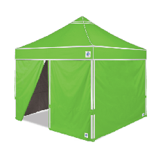 10' x 10' E-Z Up Hi-Viz Shelter Value Pack with 4 Sidewalls, Roller Bag and Spikes, Bright Green