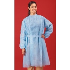 BLUE ISOLATION GOWN - POLYPROPYLENE - REAR ENTRY WITH EXTRA LONG TIES, 50 / CASE