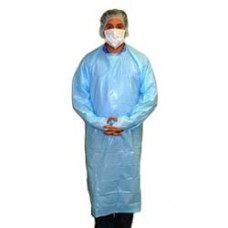 "BLUE ISOLATION GOWN - CPE - REAR ENTRY WITH ATTACHED TIES AND THUMB LOOP, 55"", 100 / CASE"