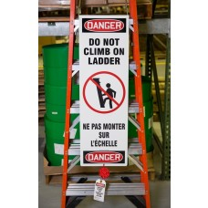 Bilingual Ladder Shield™ Kit OSHA Danger: Do Not Climb On Ladder - Spanish / English