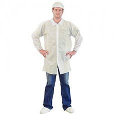 WHITE LAB COAT - HEAVY DUTY POLYPROPYLENE - NO POCKETS - ELASTIC WRISTS - VELCRO FRONT - SINGLE COLLAR, 30 / CASE