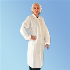 WHITE LAB COAT - SMS - NO POCKETS - ELASTIC WRISTS - SNAP FRONT - SINGLE COLLAR, 30 / CASE