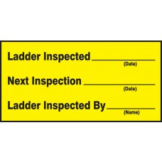 "Safety Label: Ladder Inspected, Next Inspection, Ladder Inspected By - 1.5"" x 3"" - 10/Pack"