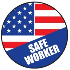 "Safe American Worker Hard Hat Sticker, 2-1/4"", 10/Pk"