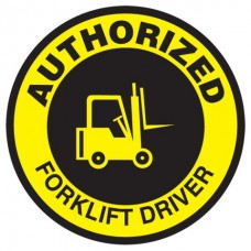 "Authorized Forklift Driver Hard Hat Sticker, 2-1/4"", 10/Pk"