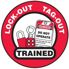 "Lock-Out-Tag-Out Trained Hard Hat Sticker, 2-1/4"", 10/Pk"