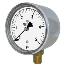 "PIC Gauge LP1 Series, Low Pressure, 2-1/2"" Dial, 1/4"", Chrome Plated Steel Case, Brass Internals"