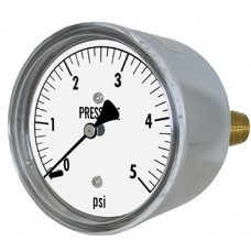 "PIC Gauge LP2 Series, Low Pressure, 2-1/2"" Dial, 1/4"" Center Back Mount Conn., Chrome Plated Steel Case, Brass Internals"