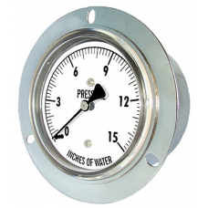 "PIC Gauge LP4 Series, Low Pressure, 2-1/2"" Dial, 1/4"" Center Back Mount w/ Front Flange Conn., Chrome Plated Steel Case, Brass Internals"