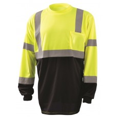 OccuNomix LUX-LSETPBK Hi Vis Yellow Black Bottom Wicking Birdseye Long Sleeve Shirt - Type R - Class R - (CLOSEOUT - LIMITED STOCK AVAILABLE)