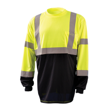 OccuNomix LUX-LSETPBK Long Sleeve Class 3 Black Bottom Wicking Birdseye Long Sleeve Shirt - (CLOSEOUT - LIMITED STOCK AVAILABLE)