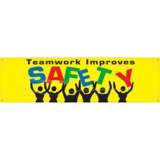 """Safety Banners: Teamwork Improves Safety - 28"""" x 8'"""
