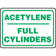 """Safety Sign: Acetylene - Full Cylinders - Plastic - 10"""" x 14"""""""