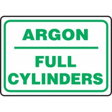 """Safety Sign: Argon - Full Cylinders - Plastic - 10"""" x 14"""""""