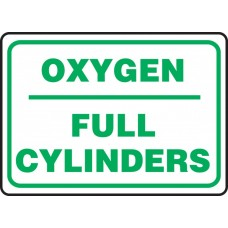 """Safety Sign: Oxygen - Full Cylinders - Plastic - 10"""" x 14"""""""