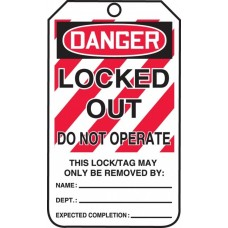 OSHA Danger Safety Tags: Locked Out - Do Not Operate - 25 / Pack