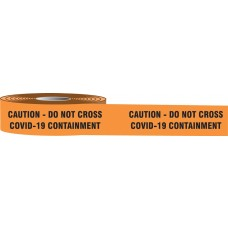 "Plastic Barricade Tape: Caution Do Not Cross COVID-19 Containment - 3"" x 1,000'"