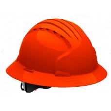 JSP Evolution Deluxe 6161 Full Brim Hard Hat, Non-Vented, Hi Vis Orange (CLEARANCE)
