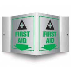 AccuForm PSM311 Brushed Aluminum 3D Projection Sign - First Aid