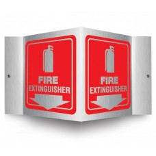 AccuForm PSM327 Brushed Aluminum 3D Projection Sign - Fire Extinguisher