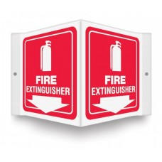 """AccuForm PSP618 Plastic 3D Projection Sign - Fire Extinguisher (White/Red) - 6"""" x 5"""""""