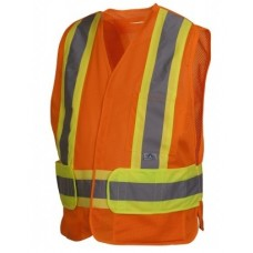 Pyramex RCA2720SE Hi Vis Orange Safety Vest - Non FR Self Extinguishing - Breakaway - X Back - Type R - Class 2