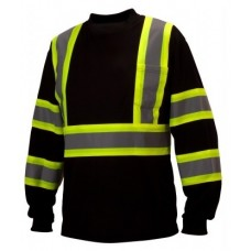 Pyramex RCLTS3111 Hi Vis Black Long Sleeve T-Shirt - X Back - Class 1