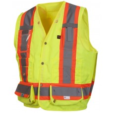 Pyramex RCMS2810SE Hi Vis Yellow Surveyor Safety Vest - Self Extinguishing - X Back - Type R - Class 2 - (CLOSEOUT - LIMITED STOCK AVAILABLE)