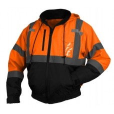 Pyramex RJ3120 Hi Vis Orange Black Bottom Bomber Safety Jacket - Removable Fleece Liner - Class 3